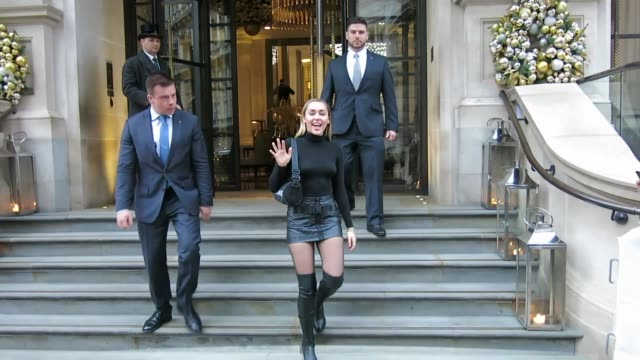 Miley Cyrus leaving her hotel ahead of filming The Graham Norton Show at Celebrity Sightings in London on December 06 2018 in London England