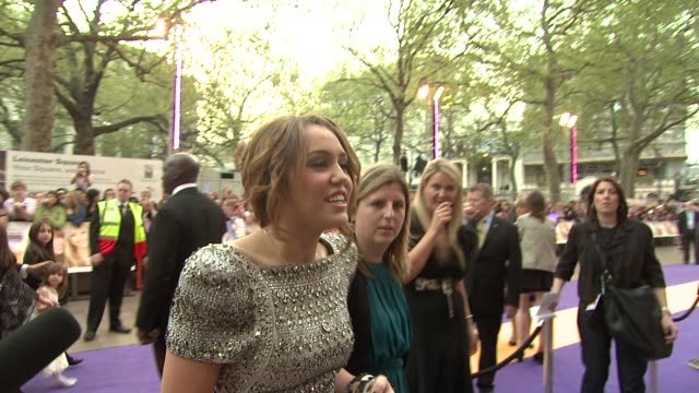 Miley Cyrus on loving being at a UK premier and on her dress being made for her at the Hannah Montana UK Premiere at London