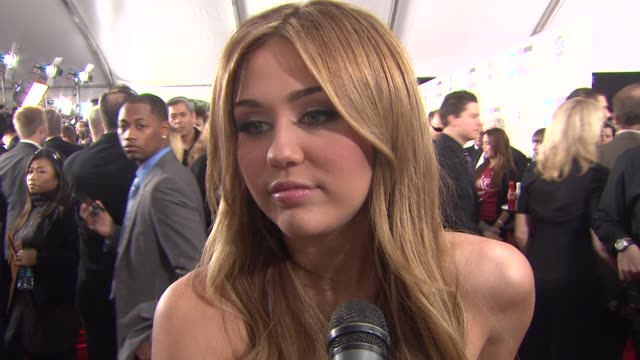 Miley Cyrus on performing tonight and being here for the American Music Awards at the 2010 American Music Awards Arrivals Part 2 at Los Angeles CA