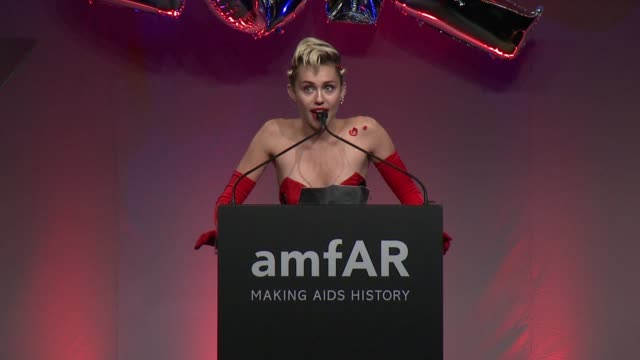 SPEECH Miley Cyrus thanks her parents and vows to cure AIDS at 2015 amfAR Inspiration Gala New York at Spring Studios on June 16 2015 in New York City