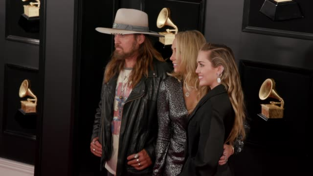 Miley Cyrus Tish Cyrus and Billy Ray Cyrus at the 61st Grammy Awards Arrivals at Staples Center on February 10 2019 in Los Angeles California...