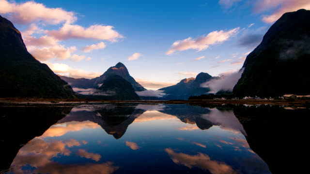 milford sound, fiordland, new zealand - reflection stock videos & royalty-free footage