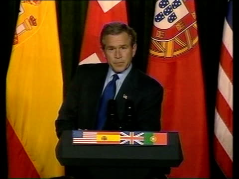 diplomacy libtx portugal the azores president george w bush press conference sot - präsident stock-videos und b-roll-filmmaterial
