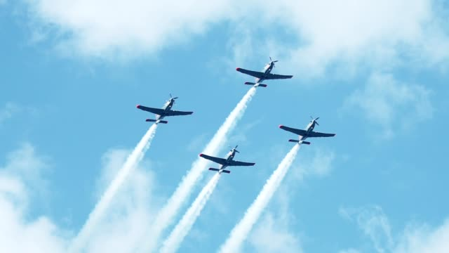 military aircraft in formation. multi colored smoke - airshow stock videos & royalty-free footage