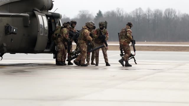 us military along with ally and partner nations demonstrate their collective defense during exercise ready to fight in latvia march 13 – 19 - military exercise stock videos & royalty-free footage