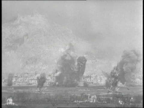 US military B52s drop bombs during the Battle of Monte Cassino