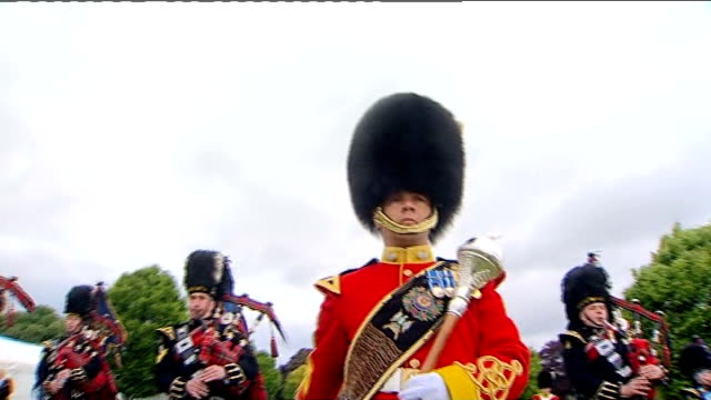 military band win best album award at classical brit awards england berkshire windsor ext royal scots dragoon guards rehearsing for windsor castle... - body adornment stock videos and b-roll footage