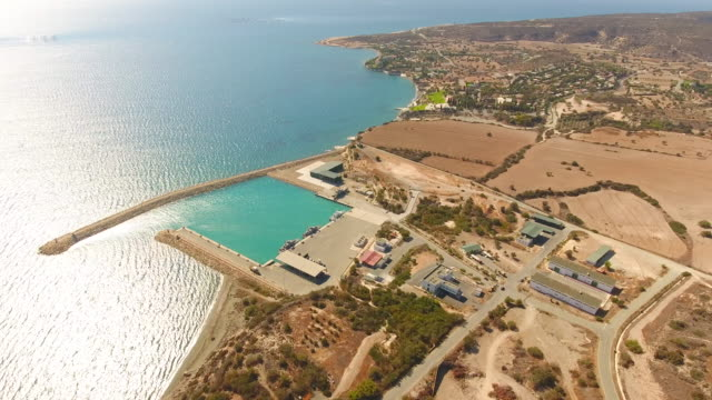 military base on the edge of cyprus island. cyprus. aerial drone shot. - military base stock videos & royalty-free footage
