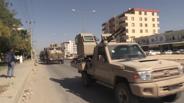 military convoy carrying syrian national army members who will join turkish troops within operation peace spring arrives at akcakale district of... - people's protection units stock videos & royalty-free footage