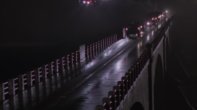 ms, military convoy escorted by helicopters riding on bridge at night - convoy stock videos and b-roll footage