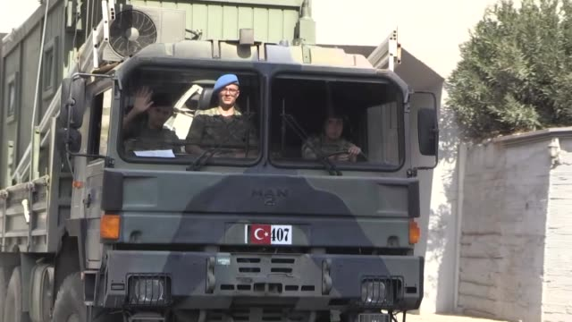 a military convoy of turkish armed forces on its way to syrian border to support the military units deployed at the border on october 09 2019 in... - syria stock videos & royalty-free footage