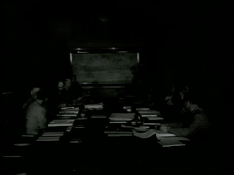 stockvideo's en b-roll-footage met military council seated at table brigadier general omar bradley sitting w/ others on left side of table wwii world war ii - 1943