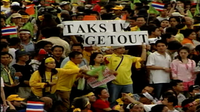 protesters waving thai flags demanding resignation of prime minister thaksin shinawatra - 2006 stock videos & royalty-free footage