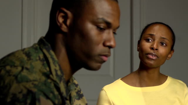 military couple have emotional conversation - post traumatic stress disorder stock videos and b-roll footage