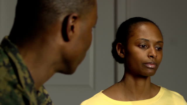 military couple have emotional conversation - wife stock videos & royalty-free footage
