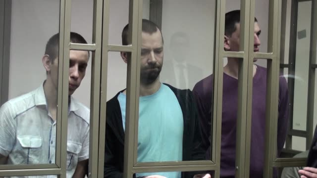 a military court in southern russia holds the first full hearing in the trial of four crimean tatars accused of joining a radical islamist group - court hearing stock videos and b-roll footage