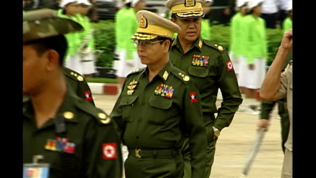 military crackdown on anti-government protests; r26060102 burma : rangoon: day generals along at opening of drugs elimination museum - military stock videos & royalty-free footage