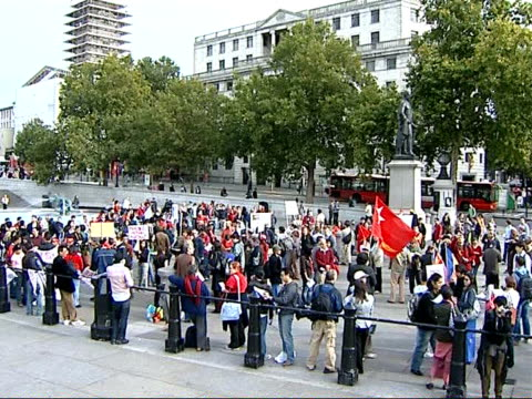military crackdown on protestors demonstration in london general views of protesters gathering together holding banners - myanmar video stock e b–roll