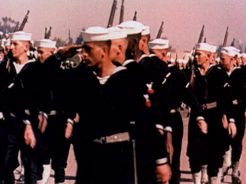 1960 montage us military divisions marching in formation (us navy, us marines, us air force at the air force academy in colorado springs) / usa - air force stock videos & royalty-free footage