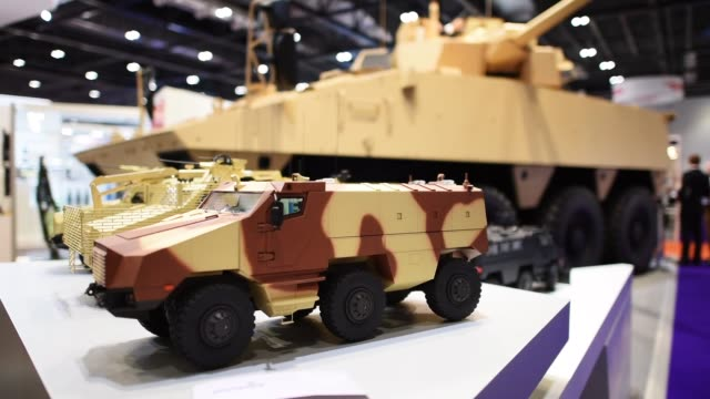 military equipment on display at the kmw stand during the defence and security exhibition 2015 at excel on september 15 2015 in london england this... - 2015点の映像素材/bロール