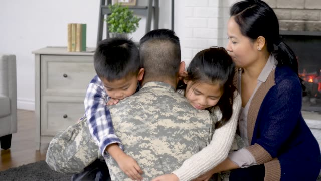 military family hugging - military recruit stock videos & royalty-free footage