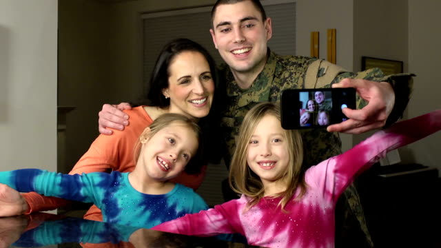 military family takes selfie photograph - military stock videos & royalty-free footage