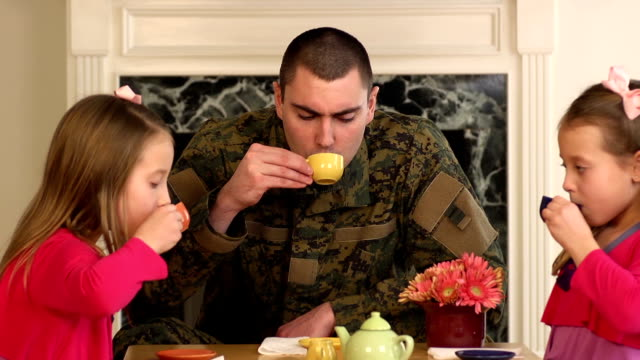Military Father Playing with His Young Daughters - CU