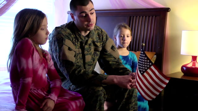Military Father Talks about the US Flag with Daughters