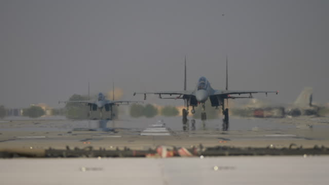 military fighter jets taxiing for takeoff - air force stock videos & royalty-free footage