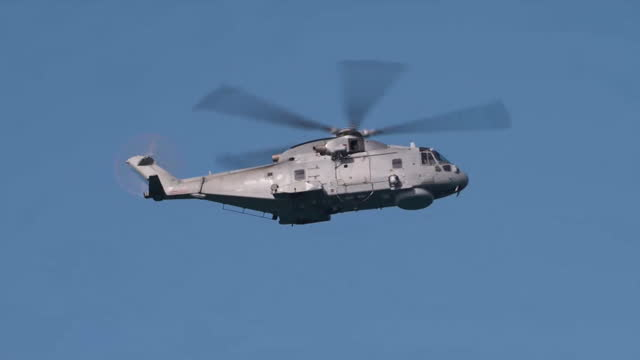 military helicopter, military ship and radar unit patrol carbis bay in cornwall, as they prepare for world leaders to arrive for the g7 summit - radar stock videos & royalty-free footage