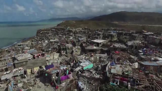 us military helicopters ramped up aid deliveries to haiti's storm shredded south but cut roads and communications and blockades by some starving... - haiti stock videos & royalty-free footage