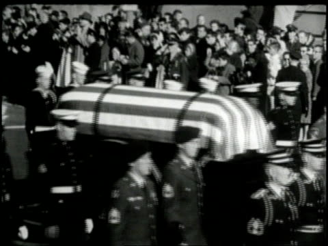 military honor guards escort the flag-draped coffin of president john f. kennedy during his funeral. - assassination of john f. kennedy stock videos & royalty-free footage