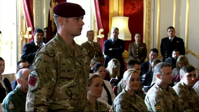 military honours lance corporal joshua leakey awarded victoria cross england london st james's palace int various shots of lance corporal joshua... - the victoria cross stock-videos und b-roll-filmmaterial