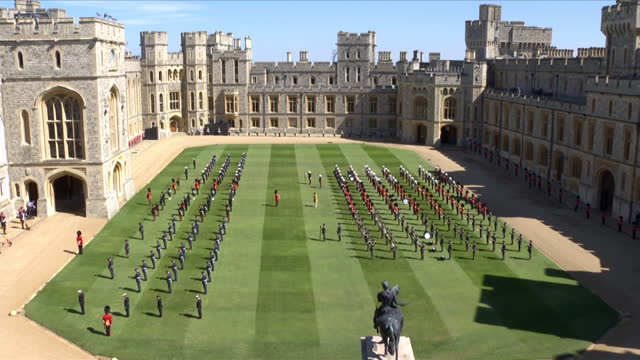 """military, involved in prince philip's funeral, on the quadrangle of windsor castle - """"bbc news"""" stock videos & royalty-free footage"""
