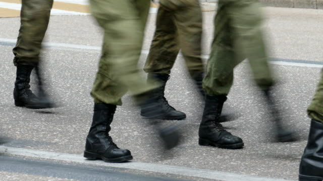 military marching feet - marching stock videos and b-roll footage