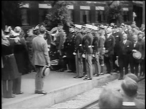 pan military men reporters with cameras as president harding's casket is put on train / sf - 1923 stock videos & royalty-free footage
