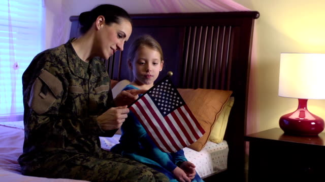 Military Mom Explains US Flag to Daughter