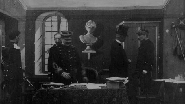1899 b/w military officer signs papers in office - 1899 stock videos & royalty-free footage