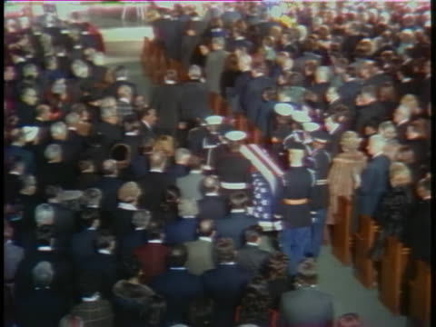 military pallbearers carry the coffin of lyndon baines johnson at the national city christian church in washington. - 1973 stock videos & royalty-free footage