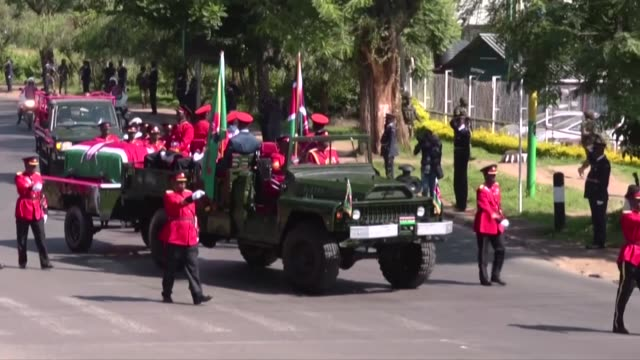 a military parade accompanies the hearse during kenya's state funeral of former leader daniel arap moi - daniel arap moi stock videos & royalty-free footage