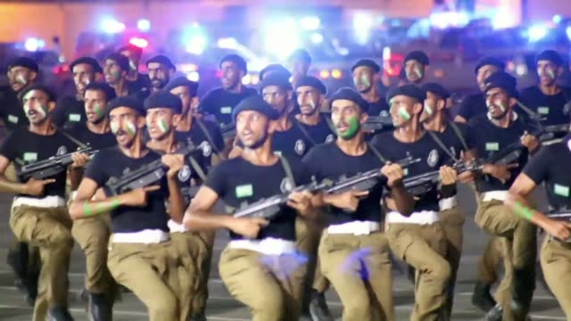 a military parade of security forces that will ensure safety during the pilgrimage season is held in mecca in the presence of the saudi crown prince... - parade stock videos & royalty-free footage