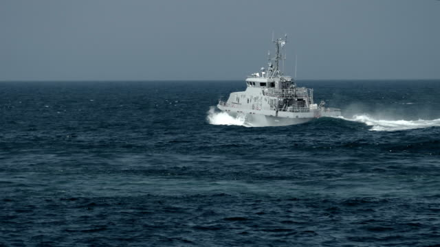 military patrol boat in the sea - warship stock videos & royalty-free footage