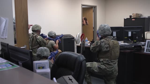 military personnel conduct an active-shooter exercise laughlin air force base, texas, july 22 2019. - officer military rank stock videos & royalty-free footage