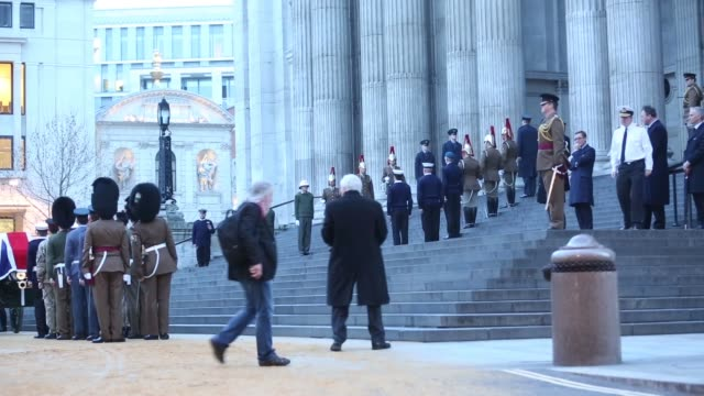 military personnel from different sections of the armed forces stand on steps of st paul cathedral during the rehearsal for former u.k. prime... - david dimbleby stock videos & royalty-free footage