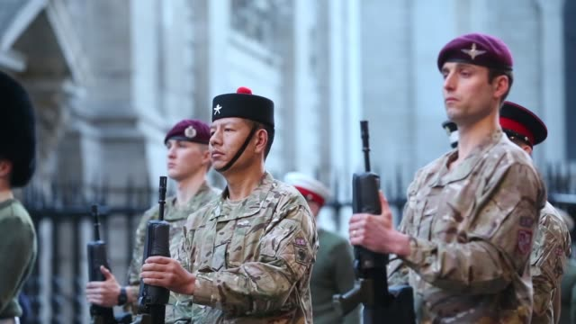 military personnel stand with guns during a rehearsal for former u.k. prime minister margaret thatcher funeral outside st paul cathedral in london ,... - saluting stock videos & royalty-free footage