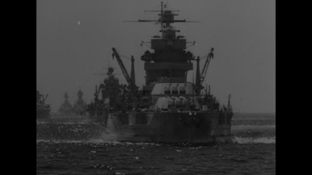 military planes flying above ocean dotted with ships / looking down at plane flying over ship / ships on sea seen from moving ship / row of ships /... - maginot linie stock-videos und b-roll-filmmaterial