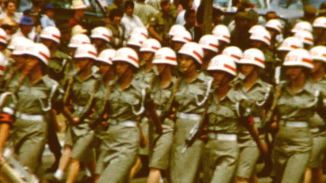 military police on parade; paratroopers carrying uzis / female military police / idf military police and paratroopers on may 09, 1962 in tel aviv,... - israeli military stock videos & royalty-free footage