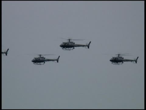 軍警察やセキュリティ飛ぶヘリコプターでの谷-過去の木 - 盗み聞き点の映像素材/bロール