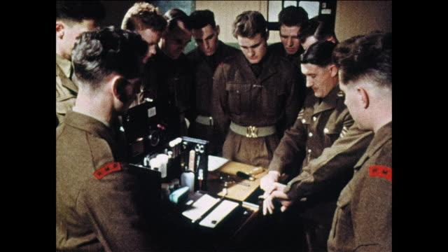 MONTAGE Military policemen learn how to fingerprint / UK