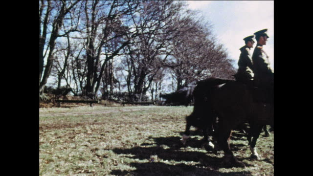 montage military policemen learn how to ride horses / uk - war stock videos and b-roll footage